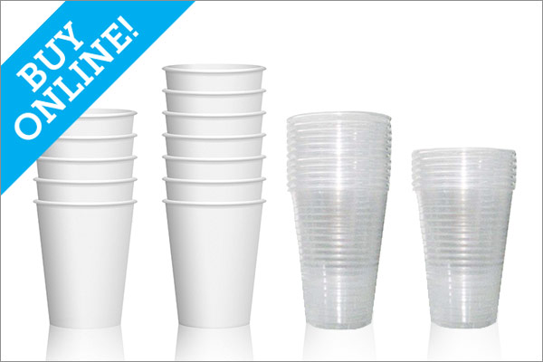 Blank Paper and Plastic Cups